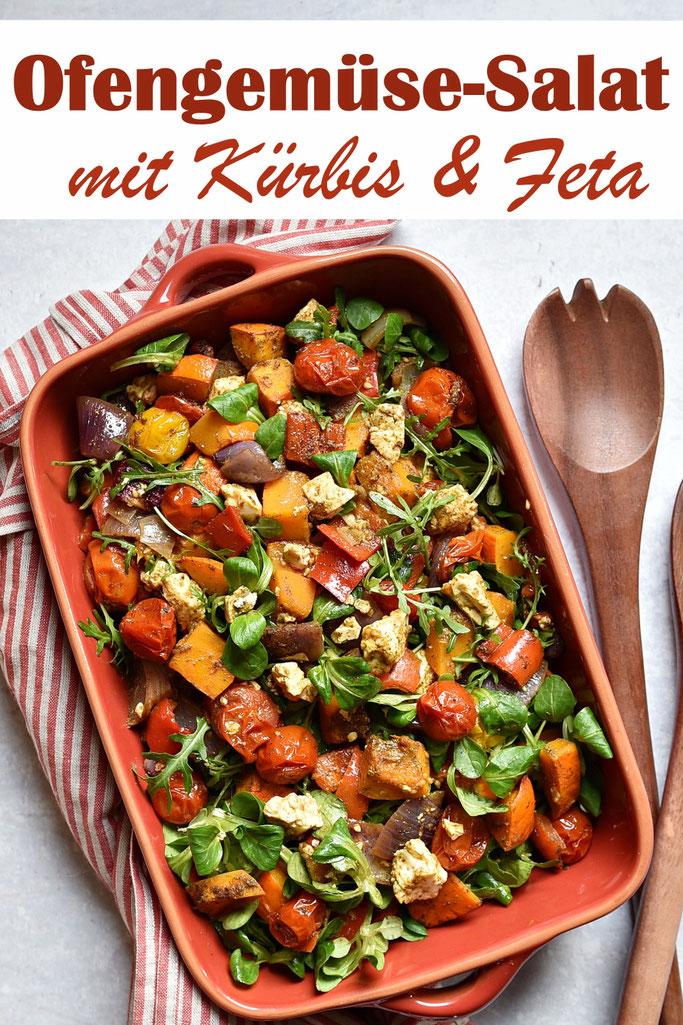 Ofengemüse Salat mit Kürbis, Feta, Zwiebeln, Paprika und Tomaten sowie Rucola und Feldsalat, mit eigener Würzmischung, die man auf Vorrat machen kann, Thermomix, vegetarisch, vegan möglich