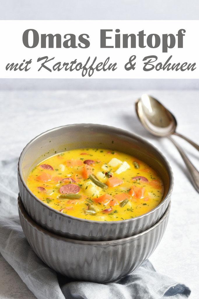 Omas deftiger Eintopf - für uns in der vegetarischen Version - mit Kartoffeln, Bohnen, Möhren etc. Einfach lecker, Thermomix