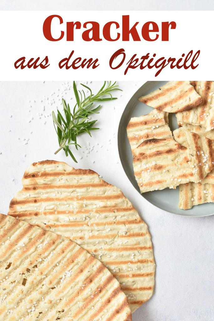 Selbst gemachte Cracker aus dem Optigrill, Knoblauch, Rosmarin, Tomate, einfaches Rezept, Thermomix, vegan