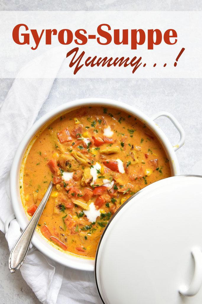 Gyros Suppe, der Klassiker unter den Partysuppen, hier in einer Version ohne Tütensuppe und ohne Zigeunersoße, vegetarisch und vegan machbar, Thermomix