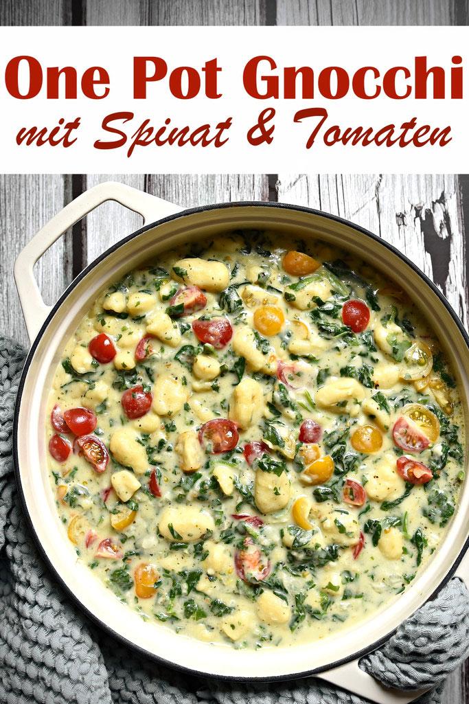 One Pot Gnocchi mit Spinat und Tomaten aus dem Thermomix, Familienküche, ruck zuck
