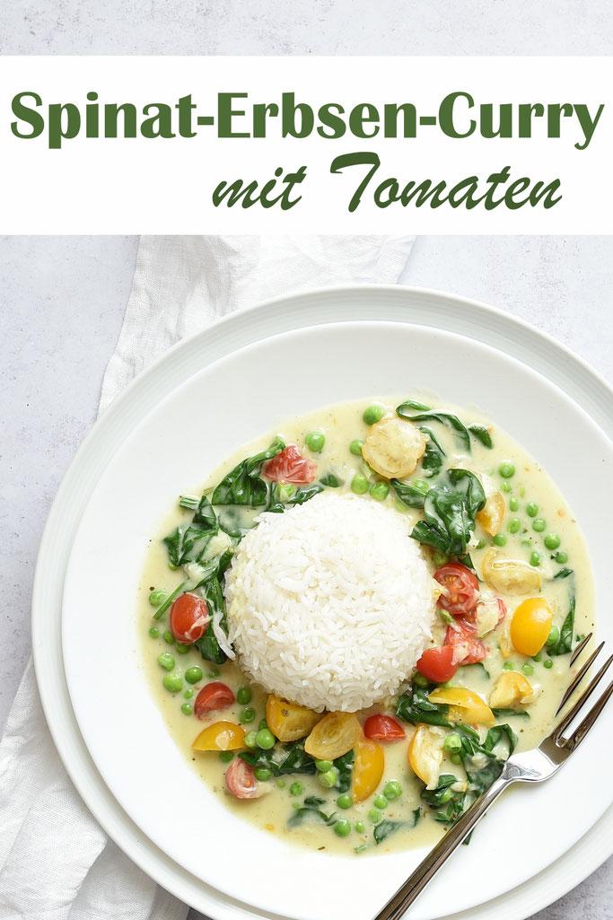Spinat-Erbsen-Curry mit Tomaten, vegetarisch, vegan machbar, dazu Reis, Thermomix, Familienküche, Mittagessen, ruck zuck zubereitet