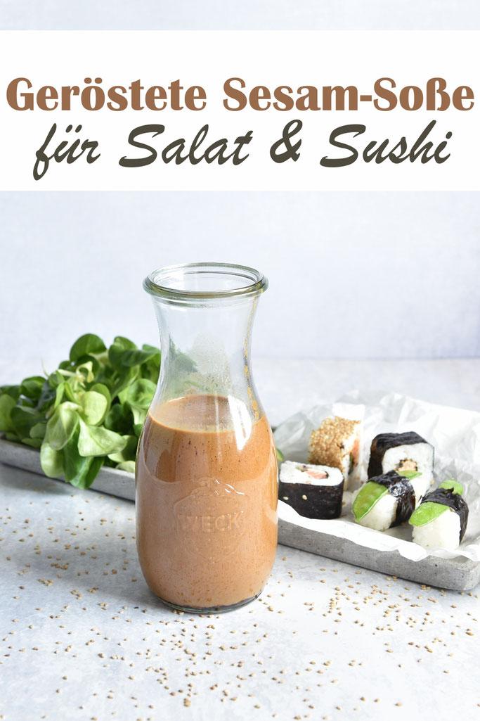 Geröstete Sesamsoße für Sushi zum Dippen oder als Salatdressing, vegan, Thermomix