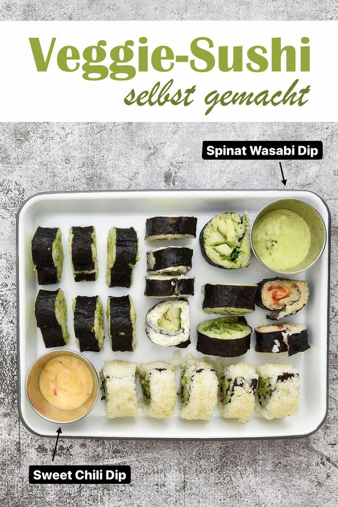 Vegetarisches Sushi selbst gemacht mit Spinat Wasabi Dip und Sweet Chili Dip, Maki Rollen, Inside Out Rollen, Sushi Reis aus dem Thermomix
