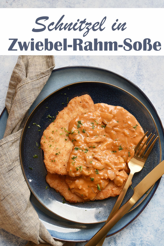 Schnitzel in Zwiebel-Rahm-Soße, z.B. vegetarisch, Schnitzel optional selbst gemacht aus Seitan, vegan, Soße aus dem Thermomix, Klassiker