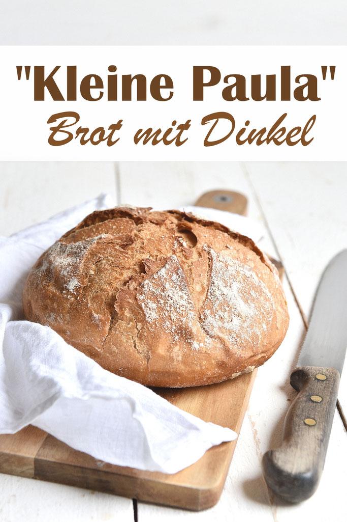Brot mit gemahlenen Dinkelkörnern oder gekauftem Dinkelvollkornmehl, sowie weiterem Dinkelmehl oder Weizenmehl, einfach zu machen, kleiner Brotlaib, Thermomix, auch als Brötchen oder Brotbackmischung oder große Paula machbar, siehe Rezept