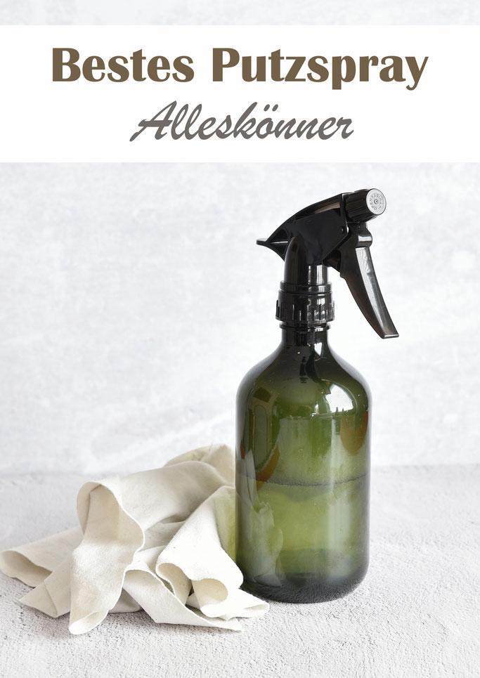 bestes Putzspray Alleskönner, selbst gemacht aus Reiner Soda, Essigessenz, Spülmittel und ätherischen Ölen, mit und ohne Thermomix, Zauberspray, DIY Putzmittel