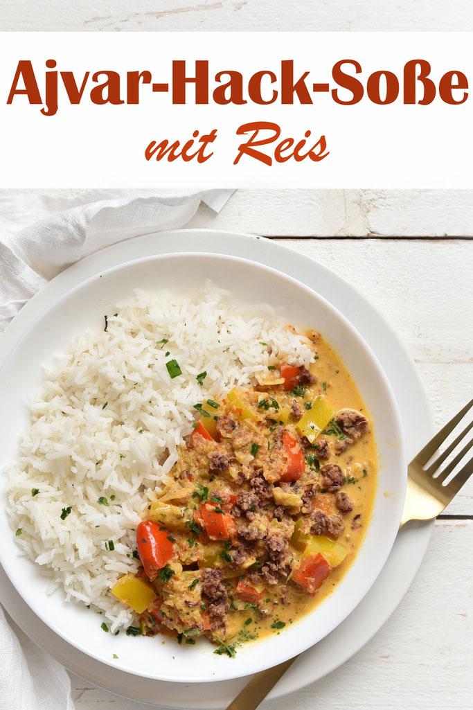 Ajvar Hack Soße mit Paprika und Lauch zu Reis, Thermomix, Familienküche, Mittagessen, vegan, vegetarisch machbar