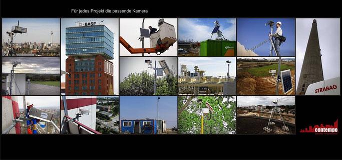 Bildmosaik mit Bildern von Zeitraffer-Kameras und Installationsorten