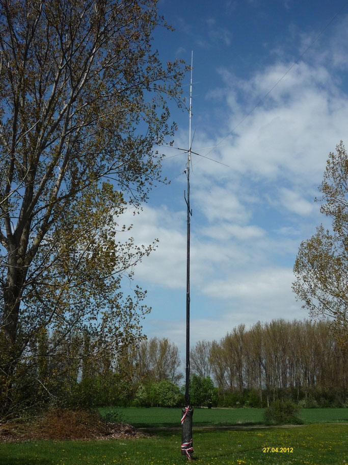 Antennenmast mit GP und FD - 4 Dipol