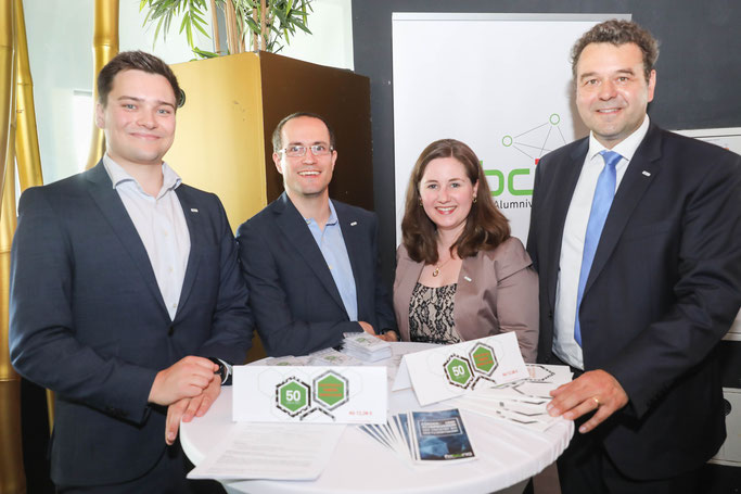 fabcing-Vorstand auf der BCI Geburtstags-Gala: Olliver Fellechner, Heiko Brandt, Stefanie Gerlich, Norbert Kockmann (von links). Foto: Oliver Schaper