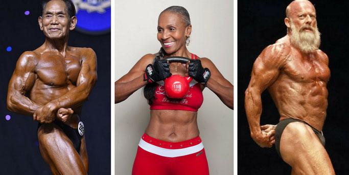 Toshisuke Kanazawa, Ernestine Shepherd, Andreas Cahling senior bodybuilders healthy aging