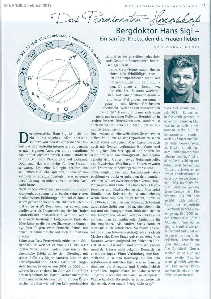 Bergdoktor Hans Sigl, Sternbild Februar 2019, Autorin Conny Nagel, Bergdoktor Martin Gruber
