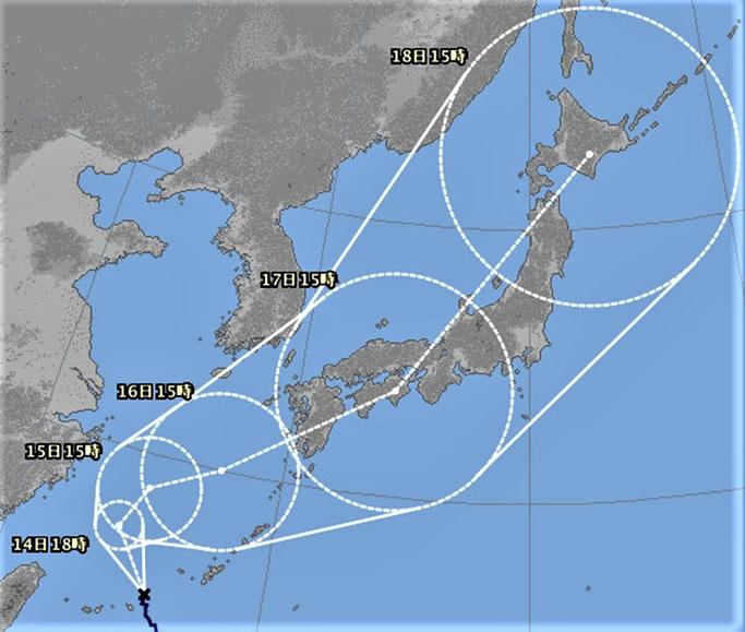 台風の予想進路(9/13 18時。気象庁HP)