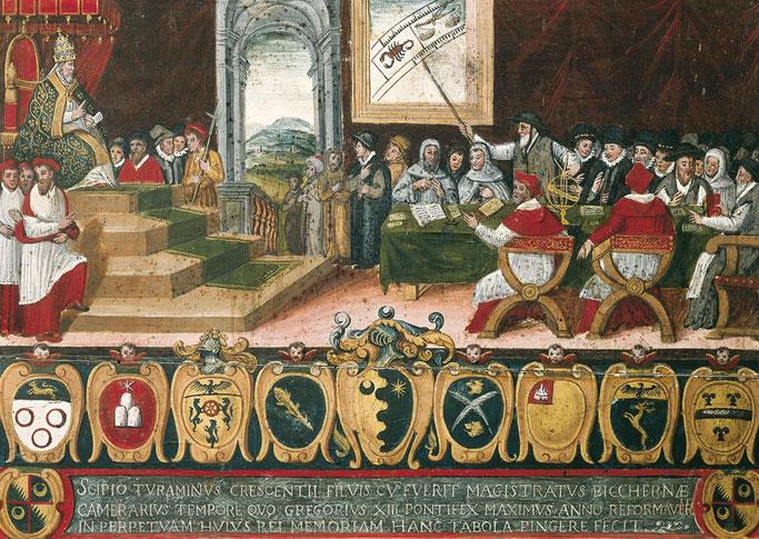 Le pape Grégoire XIII préside la commission pour la réforme du calendrier julien en 1582.