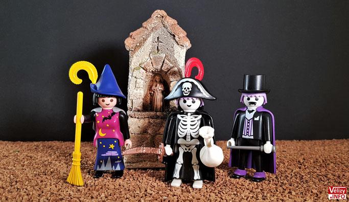 Les 3 figurines PLAYMOBIL Halloween 2018 offertes avec les menus enfants.