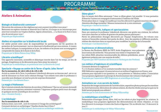 Programme Fête de la Science 2018 à Vélizy-Villacoublay.