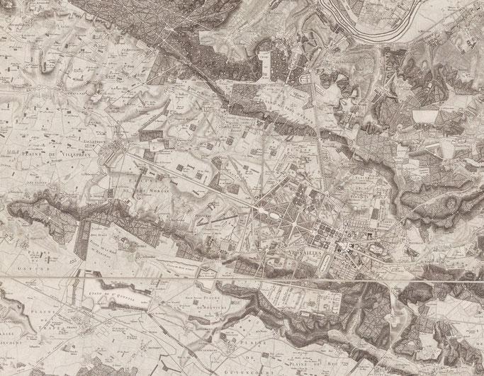 Carte topographique des environs de Versailles dite carte des chasses (1792).