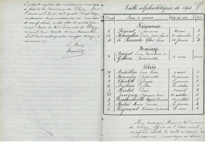 Registre d'état civil de la ville de Vélizy en 1893.
