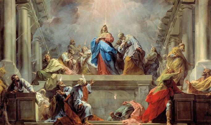 LA PENTECÔTE – Jean Bernard Restout – 1732 - Peint pour le réfectoire de l'abbaye de Saint-Denis. Transféré au Louvre en 1944.