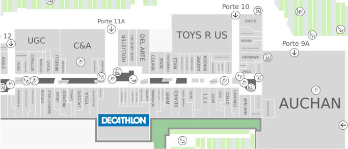 Localisation du magasin Decathlon du centre commercial de Vélizy2.