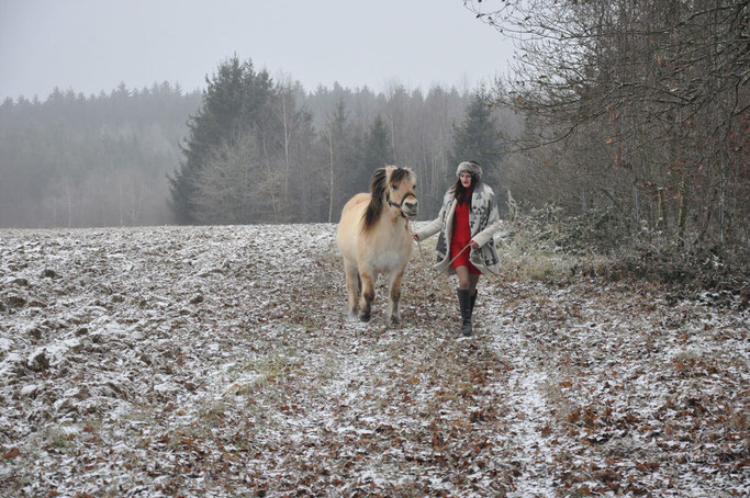 Weihnachtsspaziergang mit Pony Outfit Pferd Fake Fur rotes Kleid Modeblog Fairy Tale Gone Realistic Susanne Blog