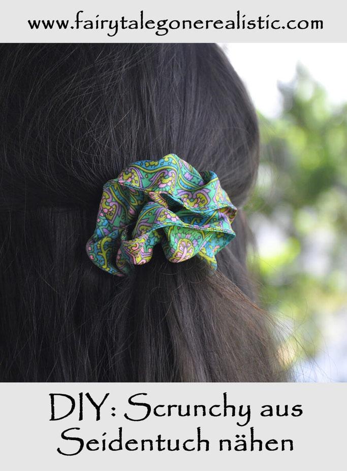 DIY Scrunchy nähen aus Seidentuch Nähblog Modeblog DIY Blog Fairy Tale Gone Realistic Pinterest