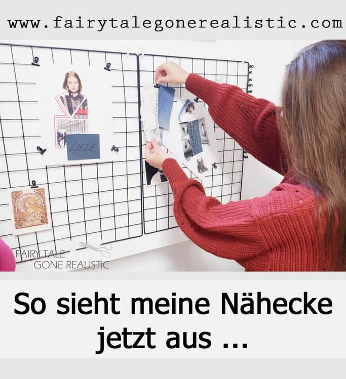 Nähecke Nähzimmer Nähplatz Pinnwand Schneiderpuppe nähblog fairy tale gone realistic