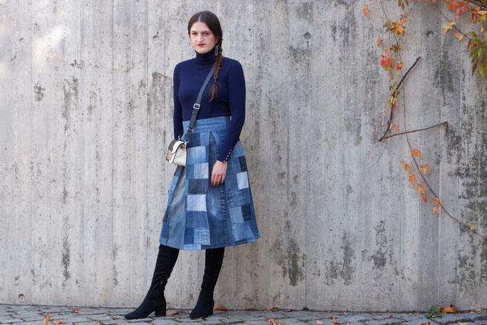 Selbstgenähter Patchwork Jeansrock Nähblog Nähanleitungen selbstgenähte Kleidung Bloggeroutfit Modedesign DIY Nähen