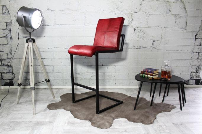 Barhocker P stylisch im Industrial-Look aus hochwertigem Echtleder in vielen Farben und formschönes Design