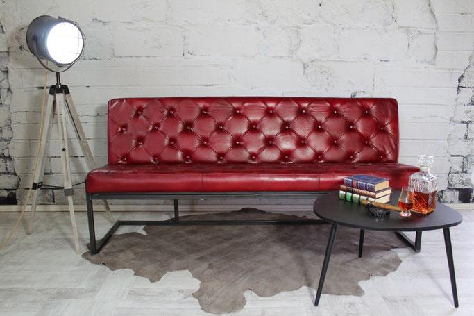 Echtleder Sitzbank Stefania im angesagten Vintage-Design in tollen Lederfarben für Ihre Premium Lounge