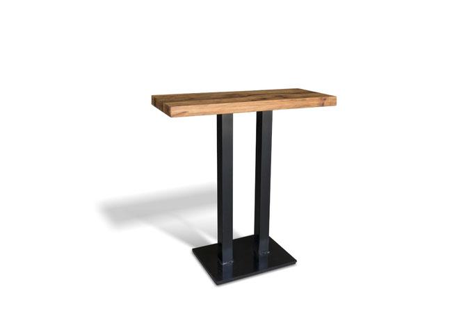 Stehtisch Hochtisch aus Altholz Eiche mit Doppelsäulen Tischgestell aus Stahl nach Maß