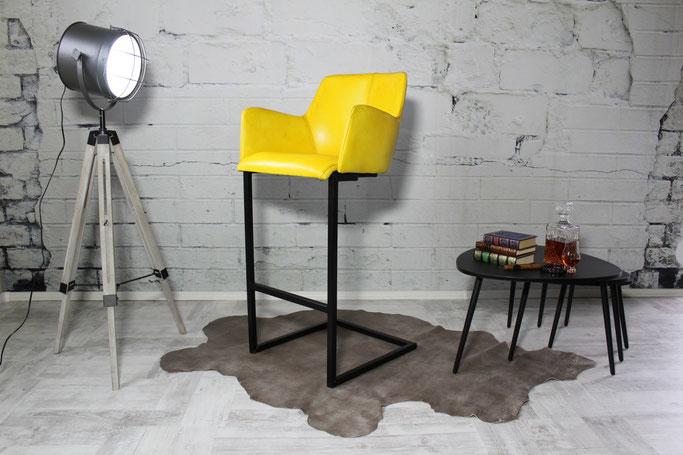 Barhocker Alex in Echtleder mit bequem schwingenden Gestell aus Stahl schwarz mit komfortabler Sitz-Schale