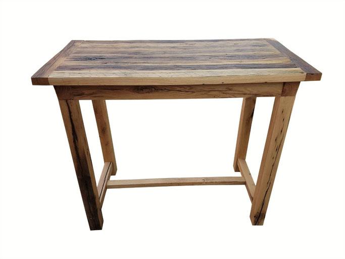 Besonders ausdrucksstarker Stehtisch Tischplatte und Tischgestell aus uraltem Eichenholz