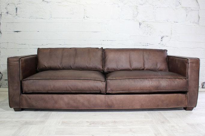 Ledersofa Cameron 3 Sitzer Echtleder gerades Design viele Lederfarben, bequem und stilvoll, ein hochwertiges Echtledersofa