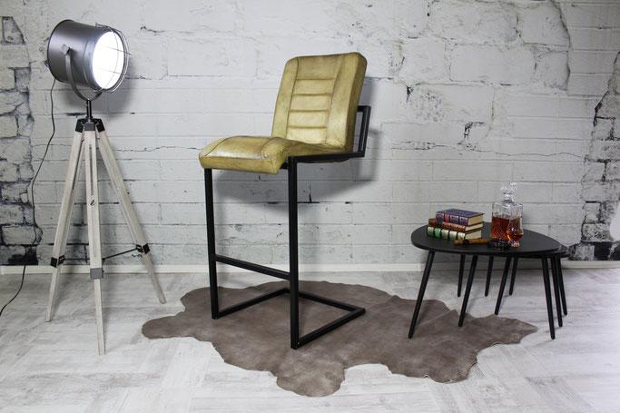 Schwing Barstuhl H im Industrie Factory Design, Sitz fein gepostert mit Echtleder Bezug für Bar und Restaurant