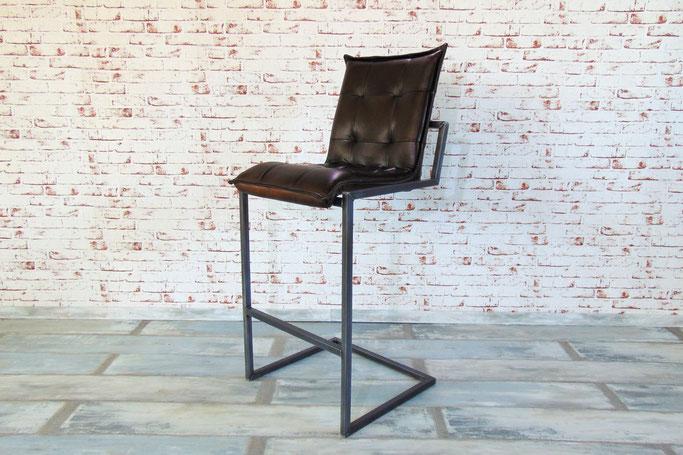 Barstuhl Hocker M im klassischen Design als Schwingstuhl, Gestell Stahl natural mit bequemer Sitzauflage Büffelleder