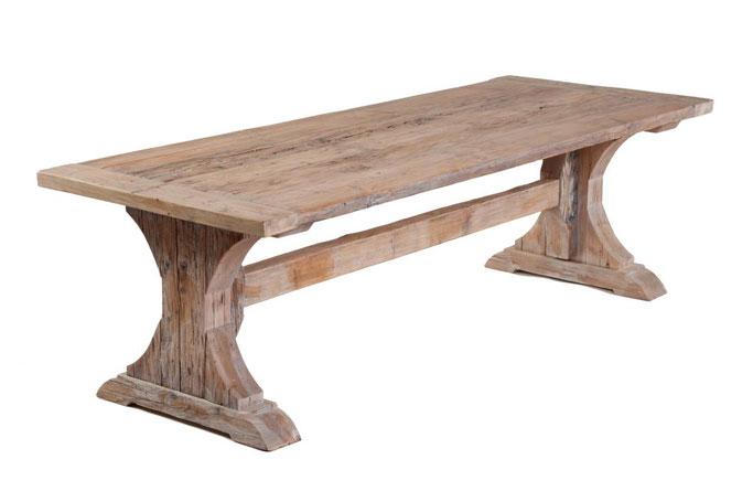 Klostertisch Eiche aus recyceltem Holz in originaler Bauweise