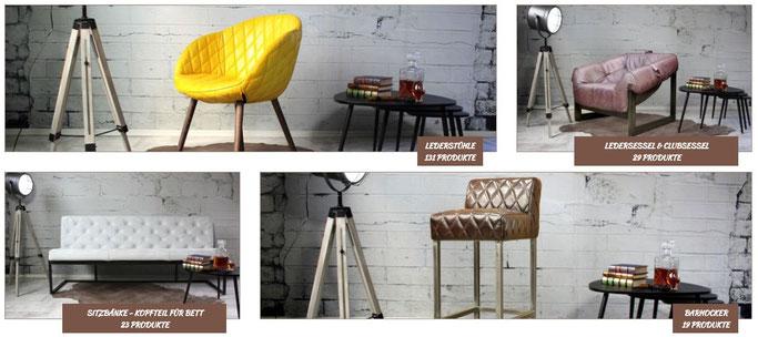 Italienische Ledermöbel Shop, exklusiv Büffelleder, Stühle, Sessel, Sofas