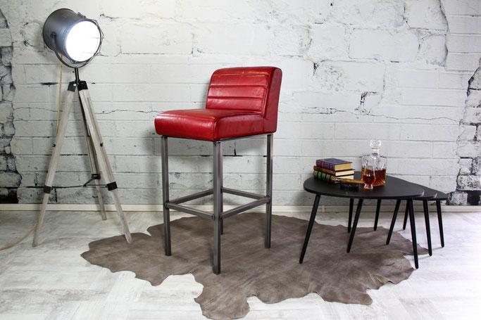 Barhocker, Barstuhl Tiffany aus Echtleder mit Stahlgestell, stylisch im Design, hervoragend weicher Sitzkomfort