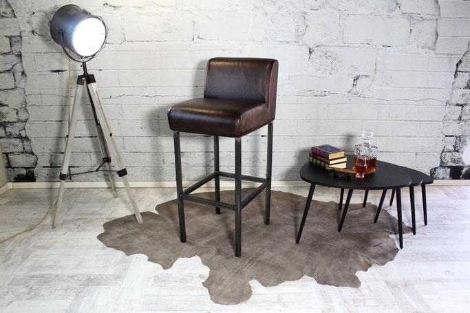 Barstuhl Tiffany I feines Rindsleder und Stahl pur, Italienisches Factory Design