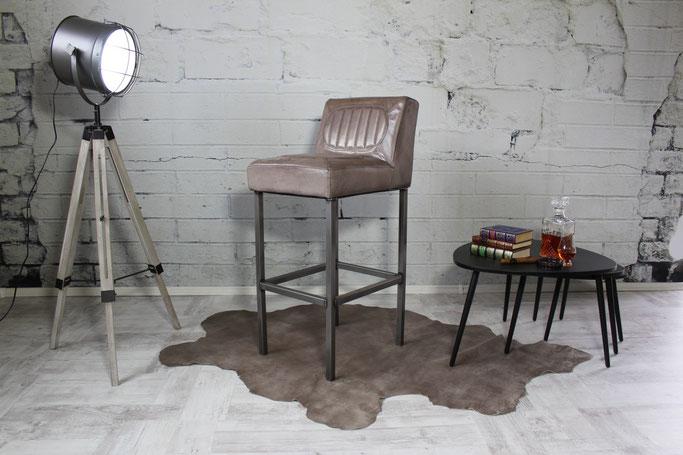 Barstuhl Tiffany I feines Rindsleder und Stahl pur, Italienisches Factory Design für Ihre Bar oder Restaurant