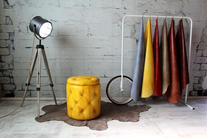 Premium Sitzpuff Louis Echtleder rund gesteppt, tolles Design für Wohnzimmer, Bar & Lounge