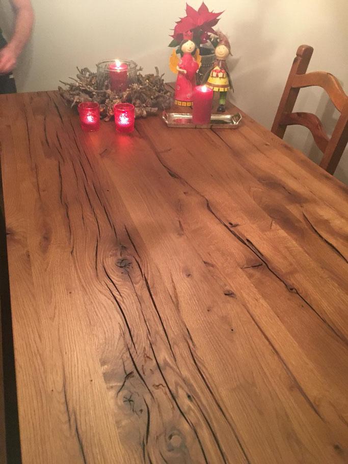 Massivholz Tischplatte alte Eiche 4 cm nach Mass.