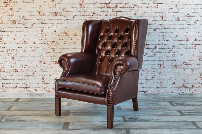 Chesterfield Sessel Mary, die Urform der Kolonialstil-Clubsessel im Art-Deco Design, dieser Sessel versprüht die Eleganz der zwanziger Jahre