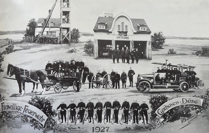 Das zweite Domizil der Döser Feuerwehr bildete den Hintergrund für diese Foto-Komposition aus dem Jahre 1927.