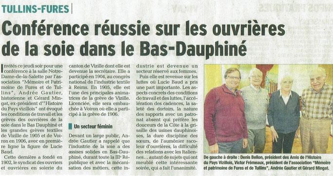 Dauphiné Libéré, Tullins-Fures, édition du 28 avril 2018