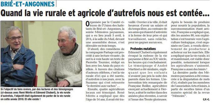 Dauphiné Libéré, Romanche & Oisans, Brié et Angonnes, édition du 08 avil 2018. Article et photo Claudie Picot Chambe