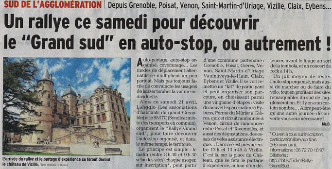 Dauphiné Libéré, édition du 17 avril 2018