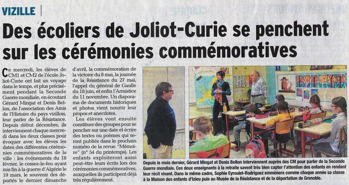Dauphiné Libéré, Romanche & Oisans, Vizille édition du 13 janvier 2018.